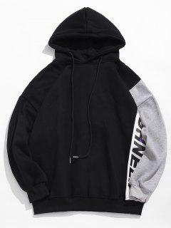 Colorblock Graphic Fleece Lined Hoodie - Black M