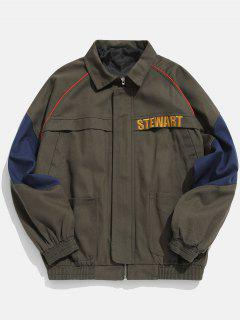 Embroidery Color Block Cargo Denim Jacket - Army Brown L