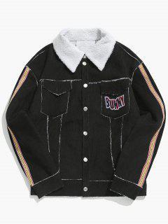 Turn Down Collar Graphic Sherpa Jacket - Black M