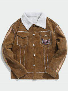 Turn Down Collar Graphic Sherpa Jacket - Coffee M