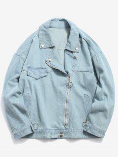 Side Zipper Embellished Denim Biker Jacket - Pastel Blue L