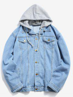 Loose Fitting Detachable Hat Denim Jacket - Blue Xl