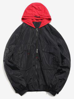 Letter Print Hooded Windproof Jacket - Black M