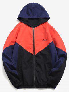 Raglan Sleeve Zig Zag Splicing Jacket - Orange Xl
