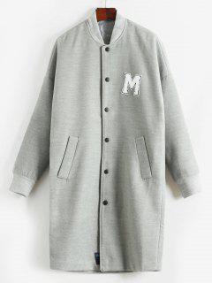Manteau Lettre Brodée à Col Debout En Laine - Gris Clair M