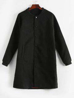 Manteau En Laine Ornée De Paillettes à Simple Boutonnage - Noir S