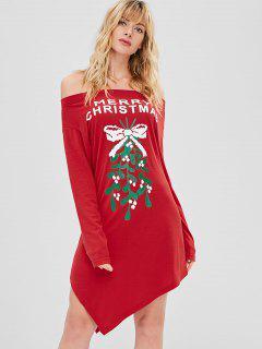 Robe De Noël Asymétrique Graphique à Epaule Dénudée - Rouge Lave Xl