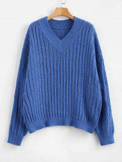 ZAFUL V Neck Oversized Sweater - Cornflower Blue
