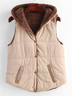 Faux Leather Panel Hooded Waistcoat - Light Khaki M