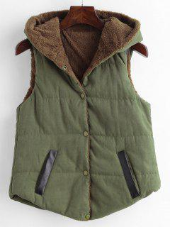 Faux Leather Panel Hooded Waistcoat - Army Green S