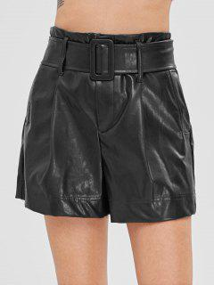 Plain Belted Faux Leather Shorts - Black L