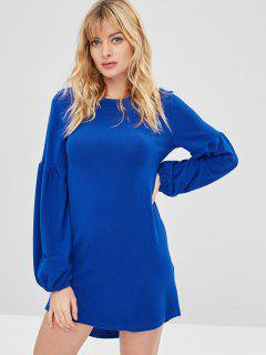 Lantern Sleeve Mini Shift Casual Dress - Blue S