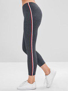 Stripe Contrast Elastic Waist Leggings - Gray L