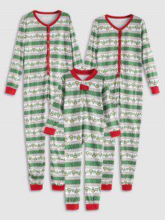Heart Onesie Family Chirstmas Pajamas - Green Mom L