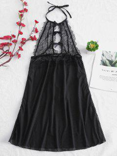 Lace Insert Halter Backless Lingerie Dress - Black