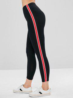 Stripes Panel Skinny Pants - Black M