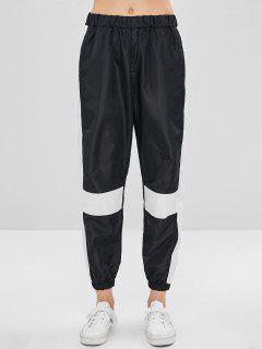 Color Block Windbreaker Pants - Black M