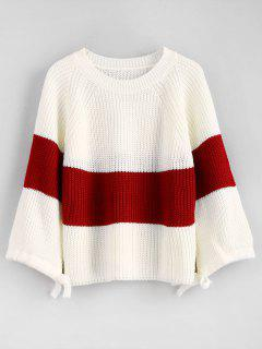 Bow Color Block Raglan Sleeve Sweater - White