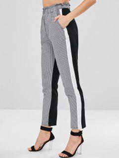 Color Block Houndstooth Pants - Multi M