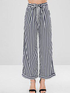 Striped Belt Wide Leg Pants - Multi L
