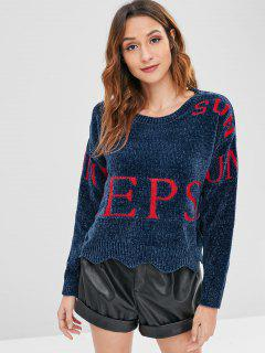 Letter Graphic Scalloped Hem Sweater - Deep Blue