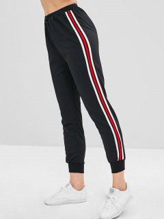 High Waisted Striped Sports Pants - Black L