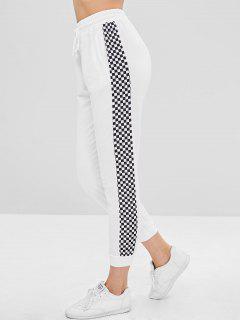 Drawstring Checkered Sports Pants - White L