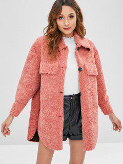 Faux Chest Pockets Loose Fluffy Coat - Light Coral L