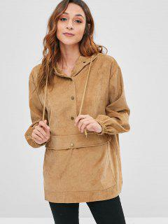Snap Buttons Corduroy Front Pocket Hoodie - Light Brown M