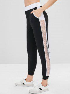 Color Block Mesh Panel Sports Pants - Black M