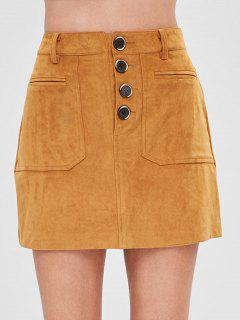 Faux Suede Button Fly Mini Skirt - Light Brown L