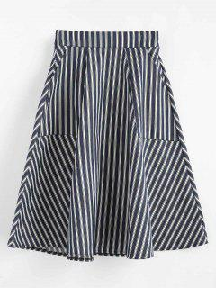 A Line Striped Pocket Skirt - Multi