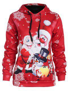 Christmas Santa Claus Pocket Hoodie - Red L