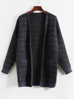 Color Block Loose Fit Cardigan - Deep Blue M