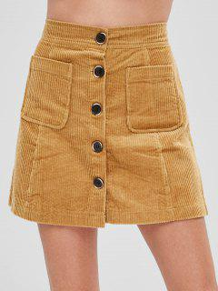 Corduroy Button Fly Pocket Skirt - Orange Gold Xs