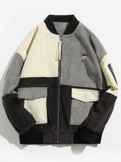 Corduroy Flap Pocket Bomber Jacket - Dark Gray 2xl