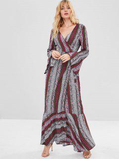 Vestido Largo Boho Con Estampado Floral A Rayas De Boho - Multicolor