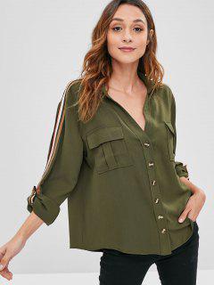 Striped Roll Tab Sleeve Shirt - Army Green M
