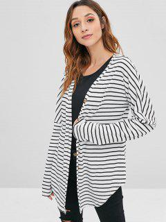 ZAFUL Striped Ribbed Button Front Cardigan - Multi M