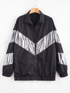 ZAFUL Manteau Zippé Ample à Deux Tons - Noir Xl