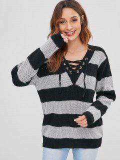 Suéter De Túnica A Rayas Con Cordones - Multicolor
