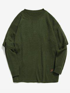Solid False Two Piece Knit Sweater - Army Green L