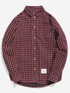 Elbow Patchwork Pocket Checked Shirt - Red Wine Xl