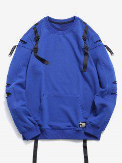 Belt Embellished Patchwork Sweatshirt - Blue M