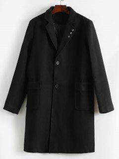 Single Breast Flap Pocket Overcoat - Black M