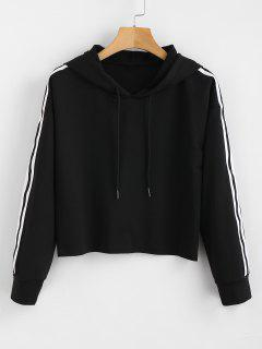 Striped Crop Hoodie - Black Xl