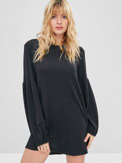Lantern Sleeve Mini Shift Casual Dress - Black S