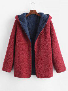 Manteau à Capuche Ouvert En Avant En Laine - Rouge Cerise L