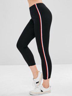 Stripe Contrast Elastic Waist Leggings - Black M