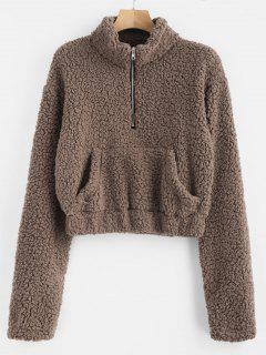 Half Zip Fluffy Faux Shearling Teddy Sweatshirt - Deep Brown S